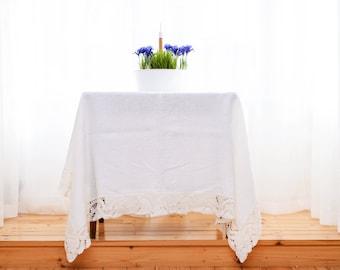 Linen tablecloth, White linen tablecloth, Linen tablecloth rectangle, Organic tablecloth, Dining linen tablecloth, White wedding tablecloth