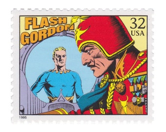 5 Unused Vintage US Postage Stamps - 1995 Comic Strip Classics - 32c Flash Gordon - Vintage Postage Shop - No. 3000p