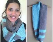 CROCHET PATTERN - Beach Front Shell Scarf - Infinity Scarf Crochet Pattern, Color Block Crochet Pattern, Scarf for Her Crochet Pattern