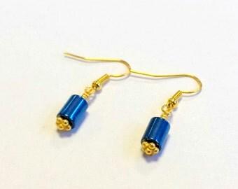 Blue Hematite earrings, Gold earrings, Blue Gemstone earrings, Gift for her, Magnetic Earrings, Metallic earrings