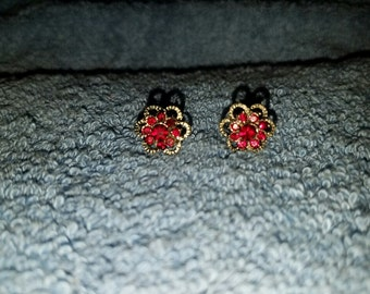 Vintage Red Rhinestone Post Earrings