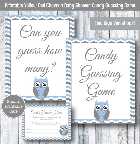 Candy Baby Shower Game: Blue Owl Baby Shower Candy Guessing Game PRINTABLE Chevron