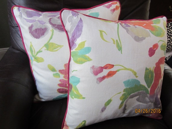 """Set of two watercolor floral throw pillows with contrast cording 16x16"""""""