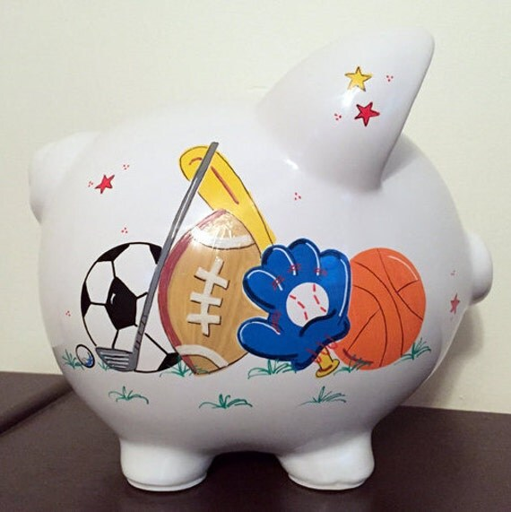 Personalized Boys Sports Piggy Bank With By Personalizedbydina