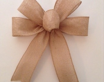 Burlap Decorative Bows / Set of 6 /Natural Decor Bows / Christmas Burlap Bows / Christmas Tree Bows / Handmade and Design in Wired Ribbon