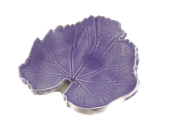 Purple Hollylock Leaf - pottery - lavender purple - lilac - ring dish - spoon rest