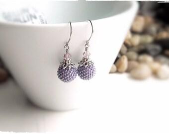 Purple Beaded Ball Earrings - Periwinkle