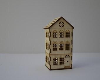 Intricate laser cut town house nightlight