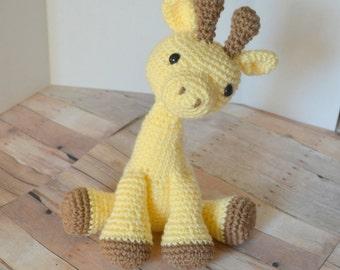 Baby Yellow Giraffe Plush, Stuffed Animal, Crochet Giraffe Amigurumi, Soft Toys for Baby, Made to Order