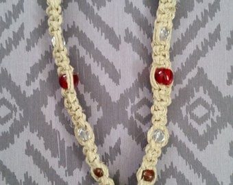 Hemp and Crystal Necklace