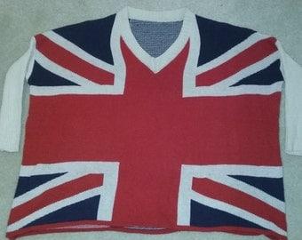 Union Jack British Flag Sweater V-Neck