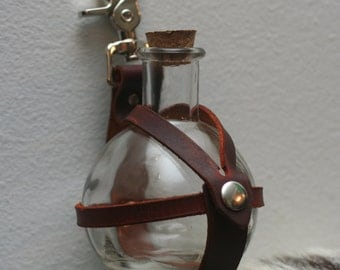 Made to Order---Leather Potion Bottle Holder with Clip