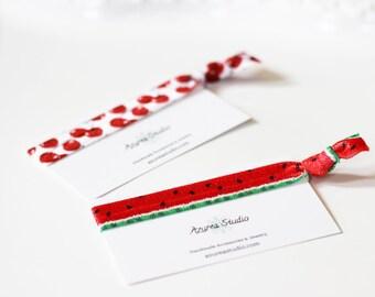 Summer Fruit Watermelon or Cherries Hair Tie
