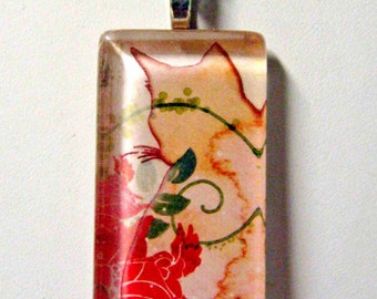 Trendy cat profile in shades of pink pendant and chain - CGP02-093