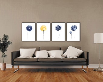 Navy Flower Set 4 Peony Flowers Blue Wall Decor, Abstract Minimalist  Watercolor Painting, Yellow Part 55