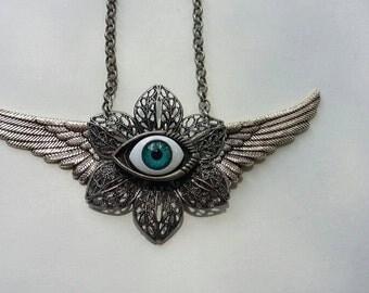 Eye Wing Flower Necklace