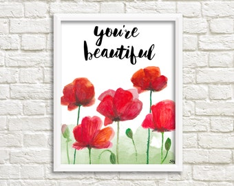 Poppies print, digital print with watercolor poppies, poppies art print, botanical print, floral print,  INSTANT DOWNLOAD (0037)
