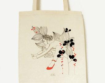 "Organic cotton printed tote bag ""Silent Song"""