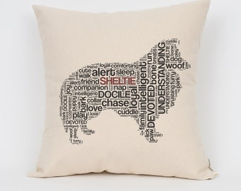 """Sheltie 16"""" Pillow / Choose Your Colors! / Insert Included / Dog Breed Pillow, Dog Lover Gift, Pet Pillow, Dog Art, Dog Mom, Pet Lover"""