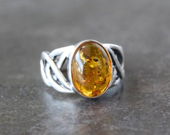 Sterling silver ring with Baltic amber