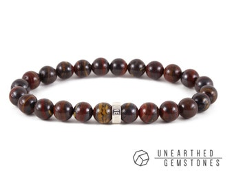Natural Red Tiger Iron Bracelet - Tiger Eye Matrix Bracelet, Brown Jewelry, Brown Accessories, Tiger Iron Jewelry
