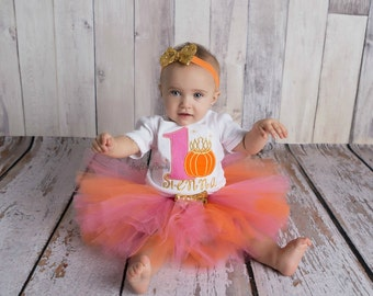Fall first birthday halloween pumpkin princess crown pink and gold tutu OTT sequin birthday outfit ANY NUMBER second third fourth