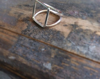 Square double ring, minimalist ring, geometric ring, statement ring, contemporary ring
