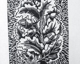 Acorn & Leaf - Linoleum Relief Print