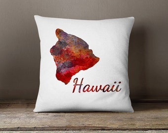 Hawaii Pillow Cover Abstract Hawaii Throw Pillow Cover Red Purple Orange White Modern Home Decor Cushion cover Hawaii Map Decor