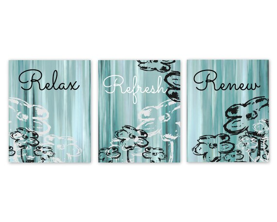 Bathroom wall decor teal bathroom decor aqua bathroom art for Teal and black bathroom accessories