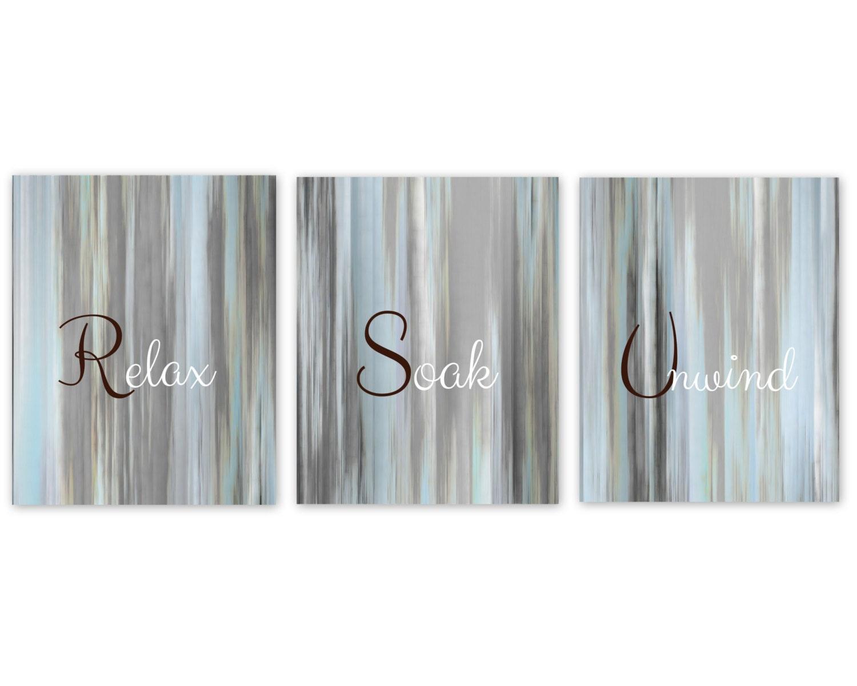 Bathroom wall art relax soak unwind abstract prints set of 3 for Relax bathroom wall decor