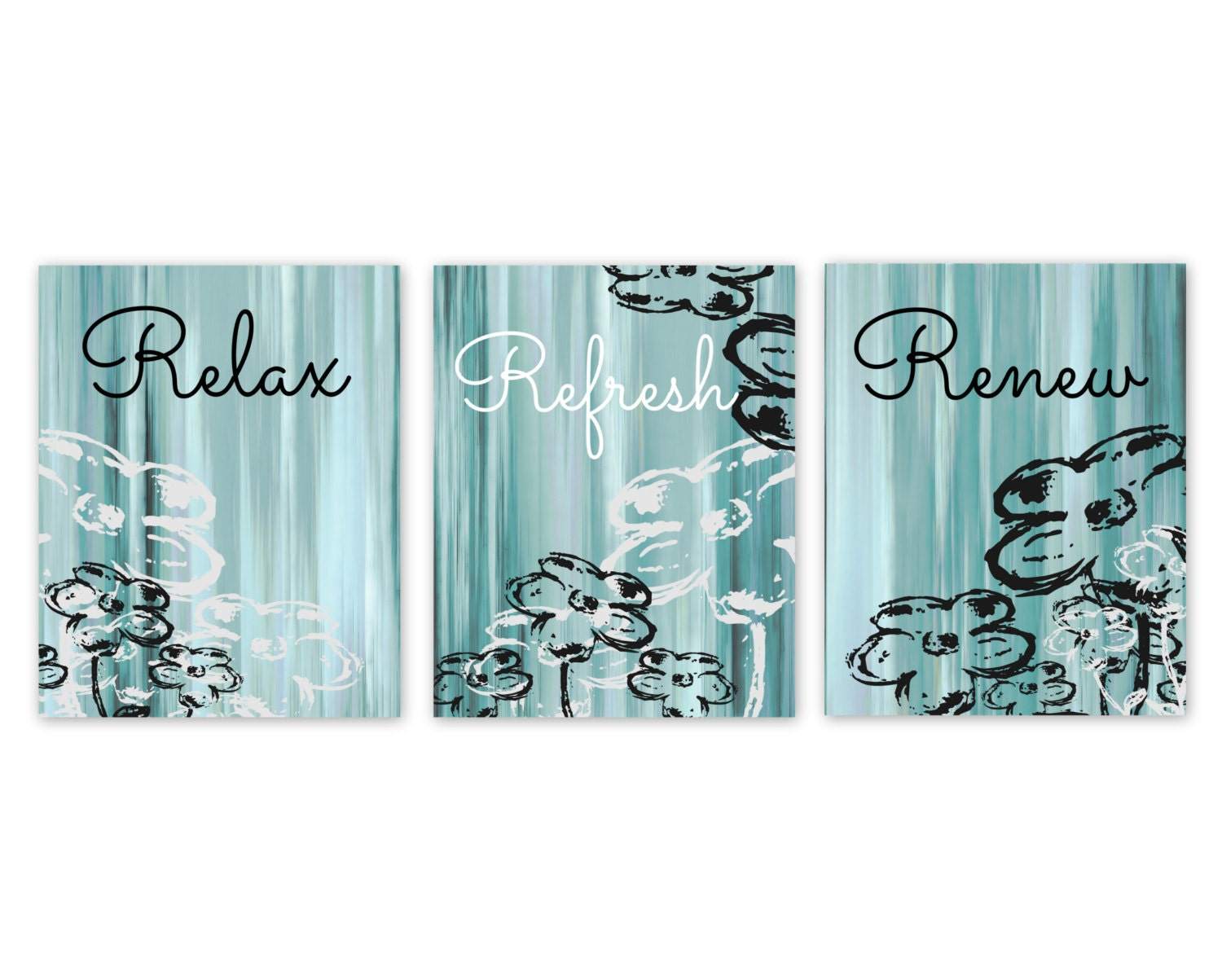 Bathroom wall decor teal bathroom decor aqua bathroom art for Turquoise blue bathroom accessories