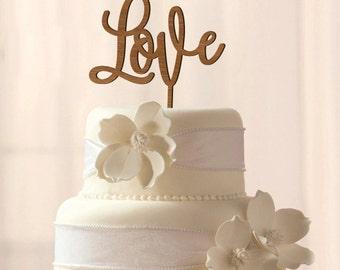 Wood Love cake topper