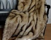 Faux Fur Throw, Wolf Faux Fur, Fake Fur Blanket Throw, Animal Print, Ready to Ship!