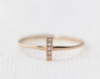 14k rose gold dainty bar diamond pave ring, stackable ring, stack ring, diamond bar ring, bar ring, geometric ring, midi ring, bar-r101-5