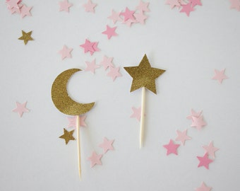 12pc. Star and Moon Toppers