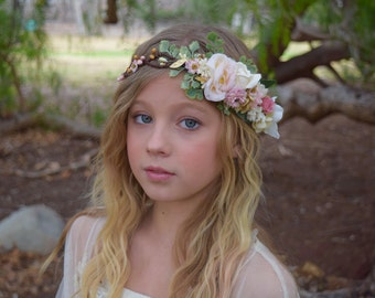 Blush, Ivory & Gold Flower Crown - Blush Flower Girl Crown - Photo Prop - Bridal Flower Crown- Blush Hair Wreath - Pink Baby Flower Crown