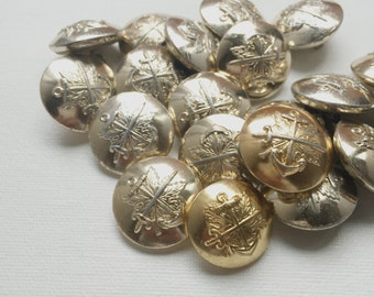Vintage Marine Army Navy Gold Silver Anchor Buttons Lot - PA1111
