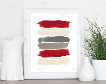 Paint Strokes - PRINTABLE Wall Art / Red Grey Cream and Neutral Paint Strokes Wall Art / Paint Stripes Wall Print / Watercolor Strokes Art