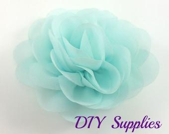 "3"" Aqua rose fabric flower - Rosette silk flower for headbands - Wedding hair clip flower - Wholesale chiffon flowers"