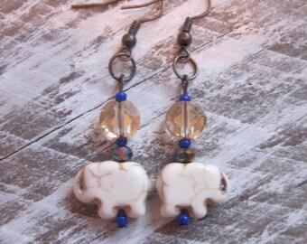 bohemian earrings elephant earrings white stone earrings champagne faceted glass, copper bohemian country chic dangle drop earrings
