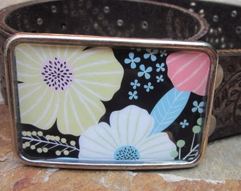belt buckles bohemian belt buckle boho belt buckle resin belt buckle pink white yellow turquoise flowers lavish Lucy  belt buckles