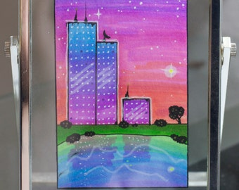 ACEO: Blue Topped Towers