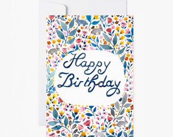 Card Happy Birthday, postcard, Stationery, flowers, vintage postcard, illustration, celebration, birthday, paper, papergoods
