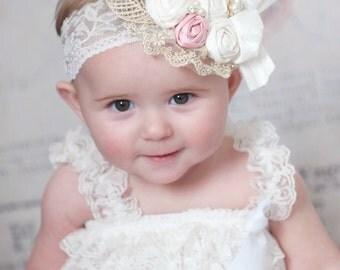Flower girl headband, Baby headband,Lace headband, Baby headbands,Flower headband,girls couture headbands ,Rustic flower girl headband.