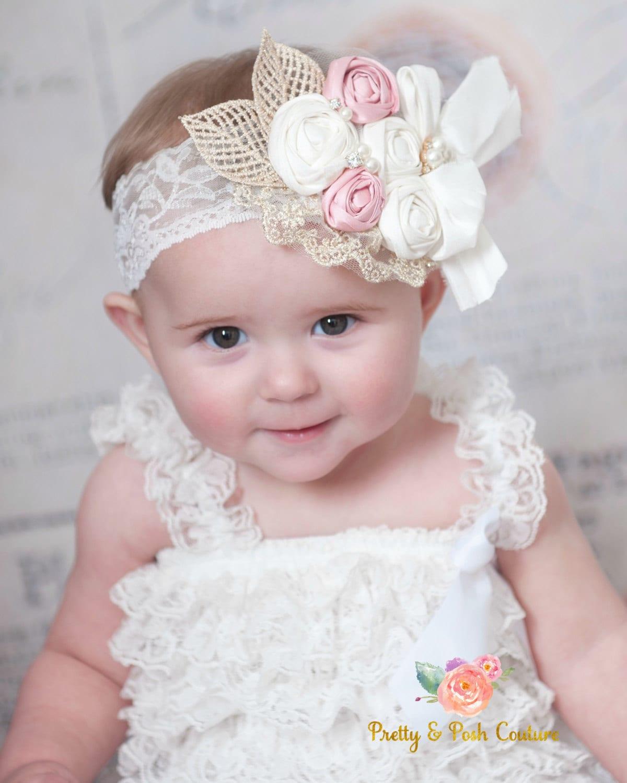 Flower girl headband Baby headbandLace headband Baby