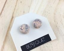 Peach and granite polymer clay stud earrings on surgical steel posts grey peach earrings marble earrings geometric earrings clay earrings