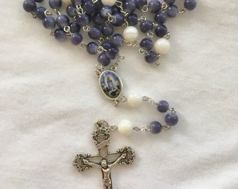 Catholic Dark Blue/Dark Purple and White Our Lady of Fatima Rosary