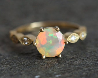Ethiopian Opal Ring, Opal Engagement Ring, Welo opal Ring, Opal Diamond Ring, Round Opal Ring, Vintage Opal Ring