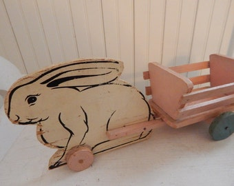 Wooden Easter Rabbit Pull Toy with Easter Wagon - Hand Painted Vintage Easter Decoration - White Easter Rabbit and Pink Wagon Pull Toy